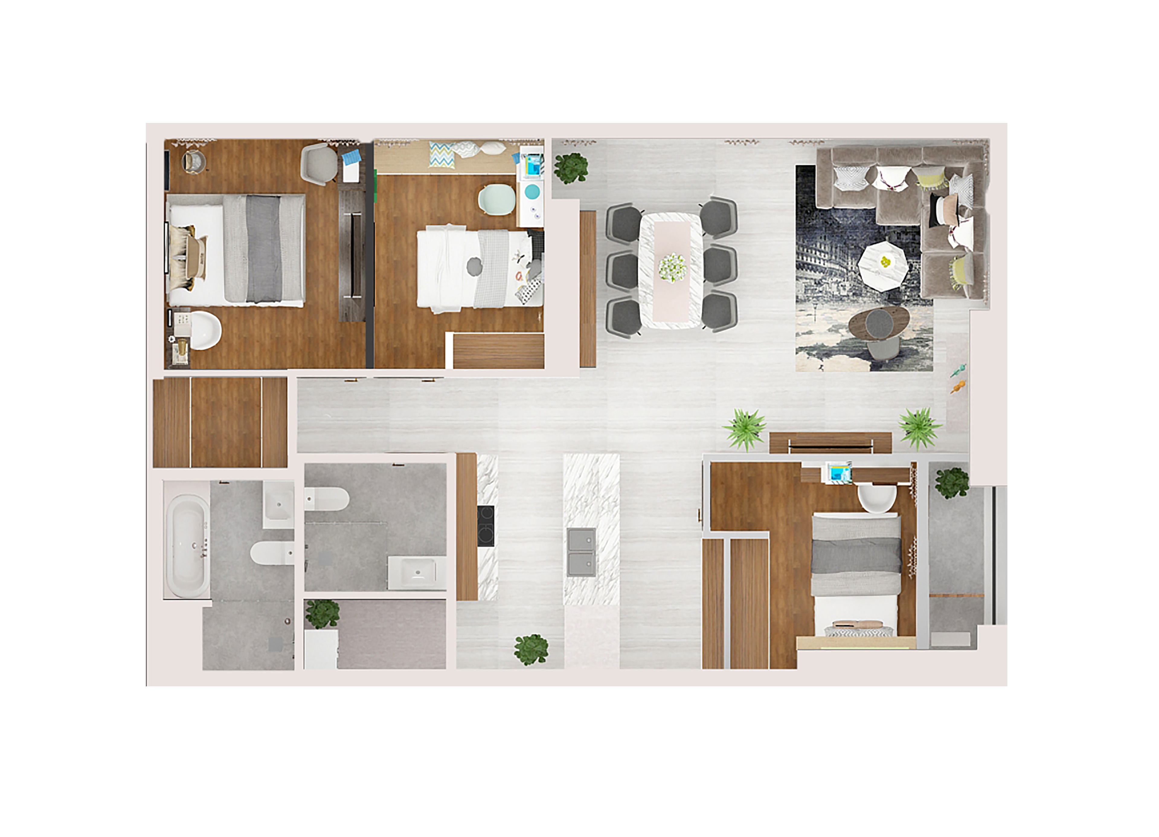 Mẫu căn hộ Kingdom 101 diện tích 102m2