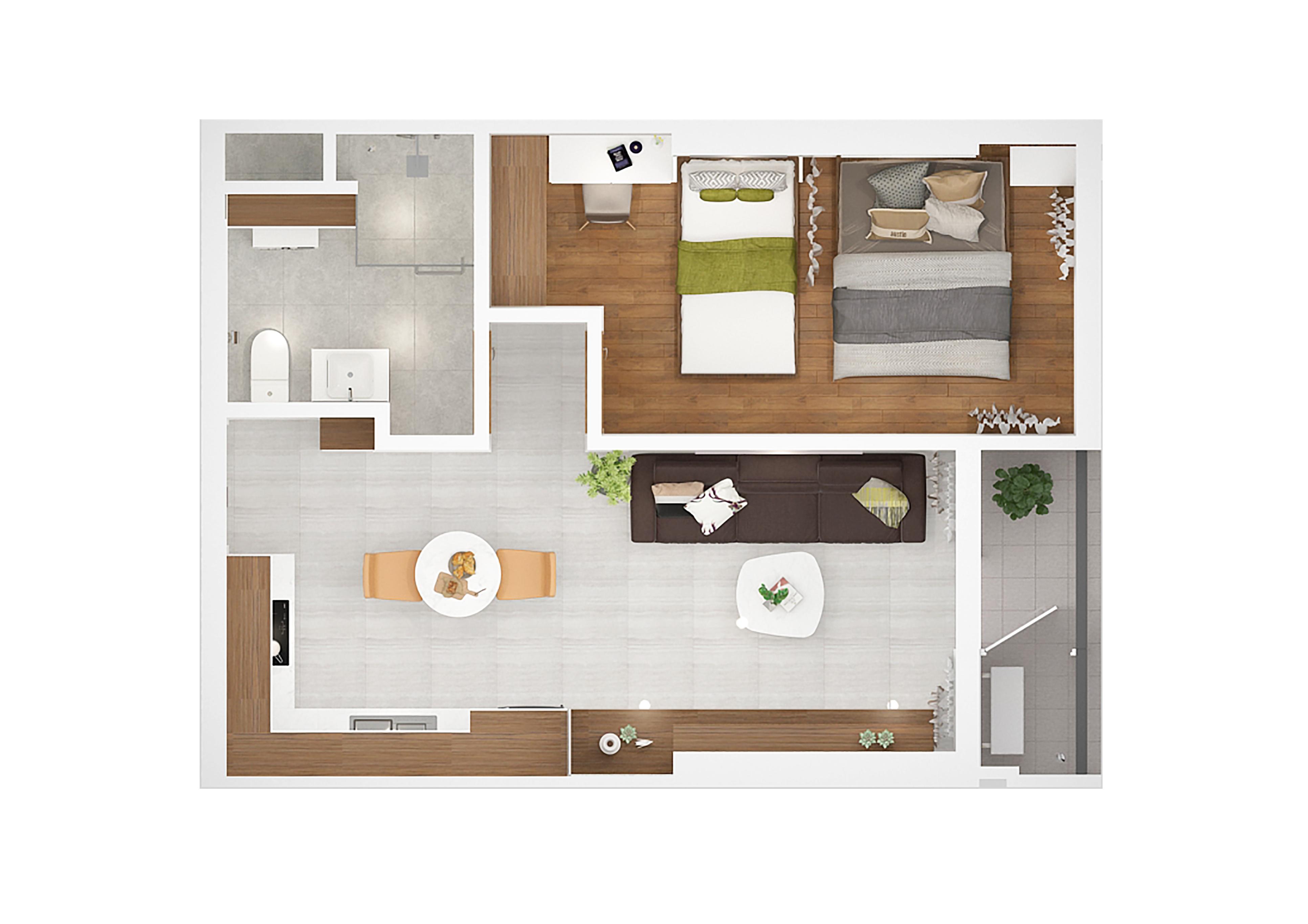 Mẫu căn hộ Kingdom 101 diện tích 48m2